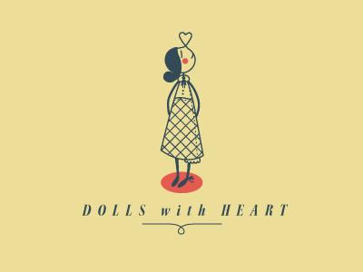 dolls logo typography dolls heart