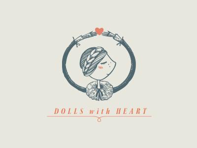 dolls again logo typography dolls heart