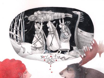 sneak peek book illustration paper gouache pencil