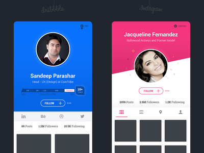 #1 - Dribbble and Instagram User Profile - UI Concept iphone android application profile concept design ux ui instagram dribbble