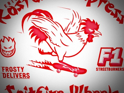Koston's Take Out skateboard rooster flames take out illustration spitfire