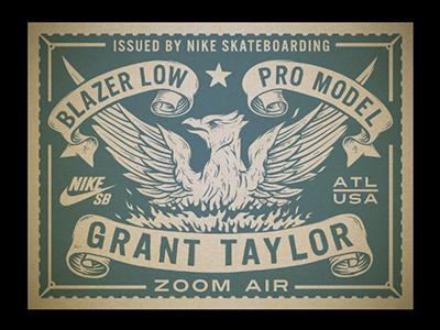 Nike Grant Taylor Blazer Low nike blazer grant taylor phoenix vintage tag illustration flames bird banner atl