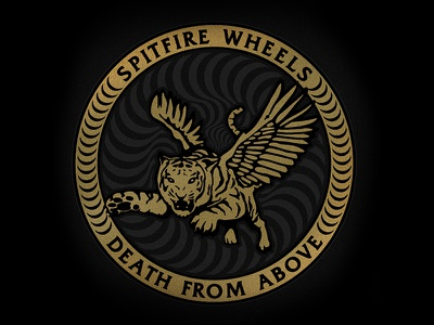 Spitfire  - Death from Above spitfire skateboard tiger wings logo swirl death wheels flying