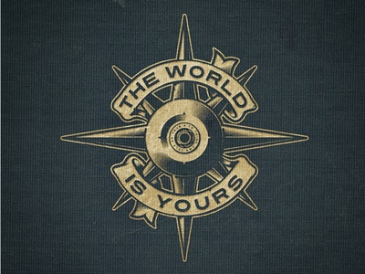 The World Is Yours illustration vintage debs gold skateboard wheel compass