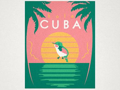 Hola Cuba illustration travel cuba vintage sunset hummingbird