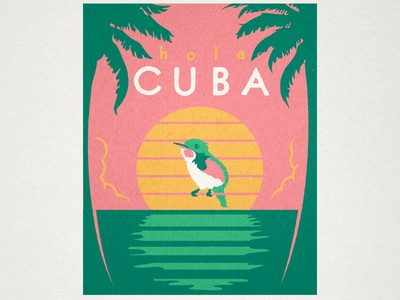 Hola Cuba illustration travel cuba vintage sunset hummingbird