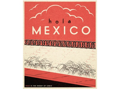 Hola Mexico fear wallride mexico hola skateboard vintage travel illustration