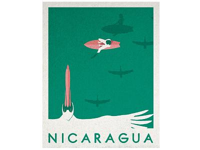Hola Nicaragua vacation illustration vintage surfing surf pelicans nicaragua