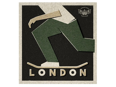 Hello London logo bats london illustration vintage skateboard