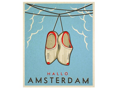 Hallo Amsterdam! travel gangster amsterdam clogs shoes wood illustration vintage