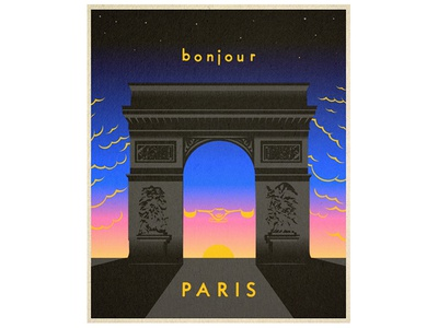 Bonjour Paris sunset paris bonjour skateboard vintage travel illustration