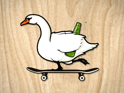 Copenhagen Cruiser! beer copenhagen swan skateboard travel illustration