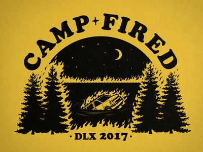 Camp Fired tee burn van deluxe illustration flames summercamp
