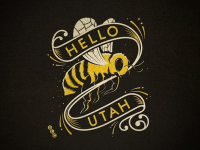 Hello Utah illustration banner bee utah salt lake city