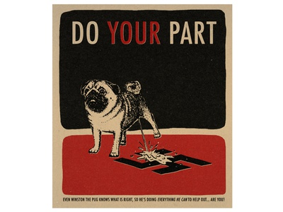 EVERYTHING HE CAN vintage seriouslypeoplewhatthefuck illustration puppy pug