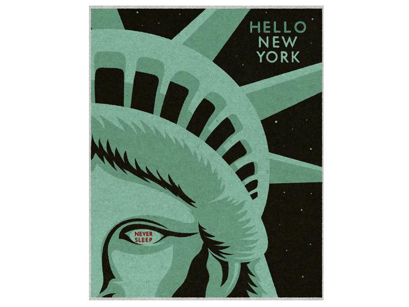 Hello New York never sleep travel eye vintage illustration statue of liberty new york