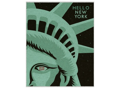 Hello New York never sleep travel eye vintage illustration statue of liberty new york