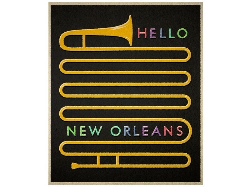 Hello New Orleans illustration vintage travel trombone new orleans