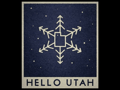 Hello Utah snowflake snow utah vintage travel illustration