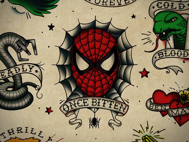 Spiderman Flash spiferman flash tattoo vintage illustration design