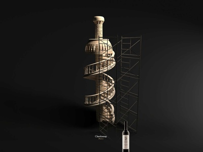 Chardonnay Tower - Domeniile Ovidiu intense advertising wine concept creative image 3d design