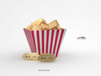 Lights, camera, action! print intense advetising branding graphic design 3d