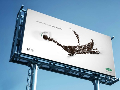 Don't be a tourist, be a Traveller - Baque Romania intense advetising creative image branding graphic design 3d