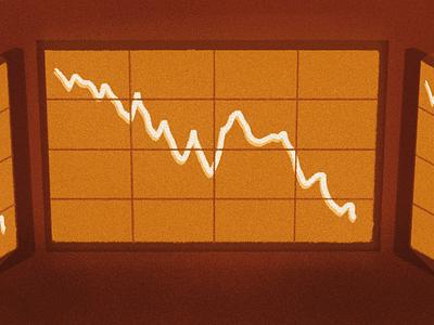 Market Panic orange screen graph crash market crypto illustration