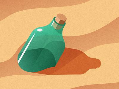 All Washed Up vector illustration coast message dunes cork glass sun grain desert sand bottle beach isometric