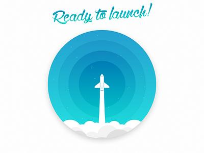 Ready to launch! minimal rocket launch rocket vector illustration