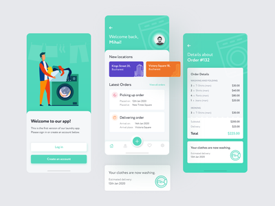 Laundry Mobile App - Free Adobe XD File and Speedart free xd free file mobile ui speed art speedart laundry app mobile app adobe xd freebie free laundry mobile design ui