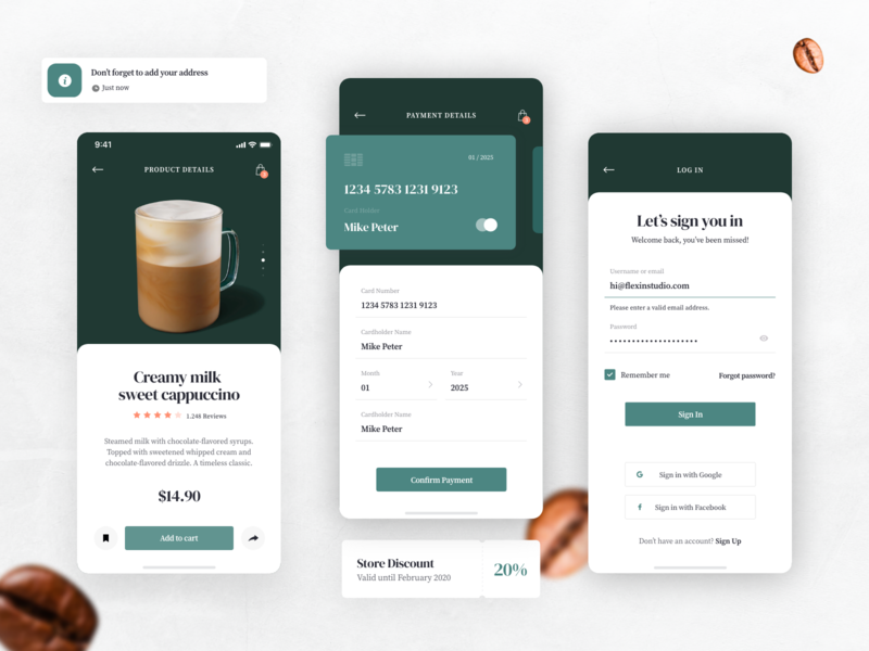 Coffee Delivery App - Product, Sign in, Cart