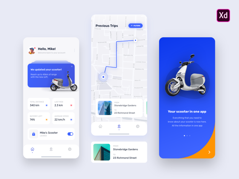 E-Scooter Dashboard - Mobile App - Free XD File