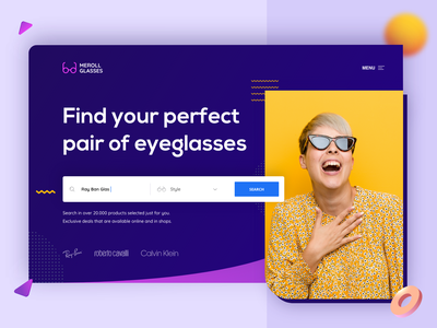 Sunglasses Hero Shot website web design layout ui ux design ui design abstract shapes flexing colorful colors landing page landing dark yellow purple hero image hero eyeglasses sunglasses