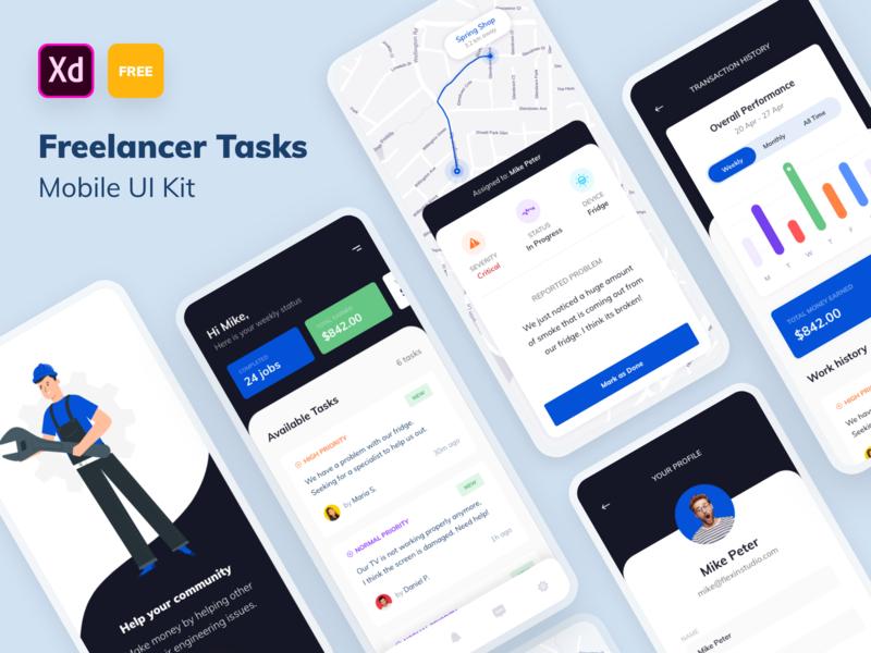 FREE Mobile UI Kit - Freelance Task List