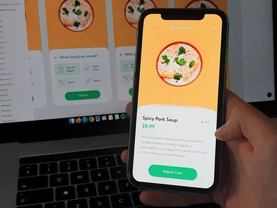 Food App - Add to Cart Animation mobile app ui ux food delivery app ecommerce app ecommerce micro interaction ui animation motion figma foodie orange food app ui add to cart animation food app food