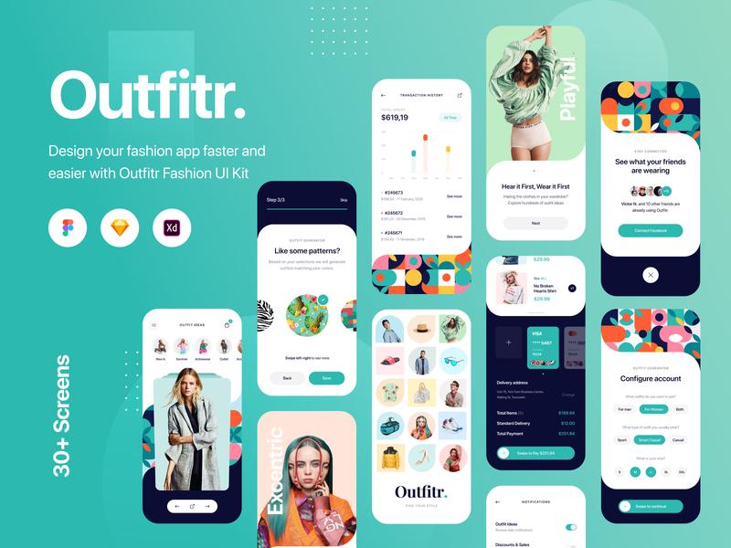 Outfitr - Fashion UI Kit - Sketch, Figma, XD