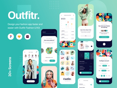 Outfitr - Fashion UI Kit - Sketch, Figma, XD app app design figma clean clothing colors creative sketch fashion application adobe xd register shopping store outfit outfits mobile ux ui apparel