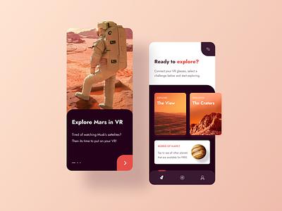 Mars - VR Exploring Space Mobile App mobile design cards ui cards modern creative layout mobile ui ux ui game explorer explore clean orange space mars mobile app mobile virtual reality vr