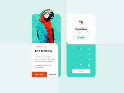 Donation App for Animals in Rainforests green creative design image parrot article calculator donations donation jungle animal creative layout ui design clean mobile app ux mobile ui mobile app