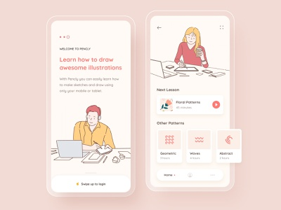 Illustration learning mobile app - Pencly ui lesson sketch man girl red yellow mobile app mobile ui dashboard mobile home listing startup onboarding elearning learning app learning illustration