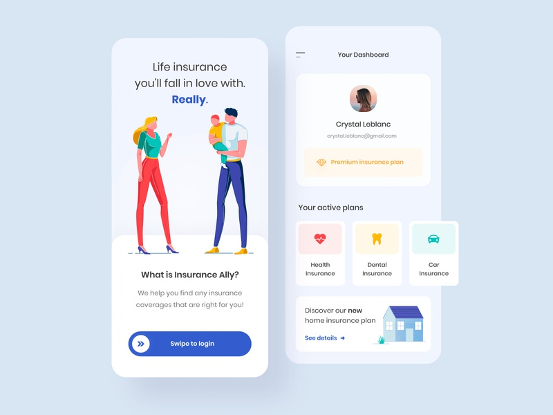 Insurance mobile app - Dashboard homepage dashboard homepage boxes cards swipe mobile ui mobile app blur creative insurance app insurance company flexin studio flexing mobile app colorful illustration minimal clean insurance
