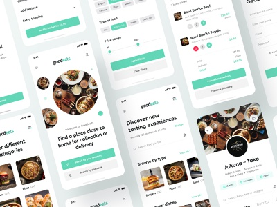 Food Delivery Mobile App by GoodEats foodie green white clean creative design ux app mobile app ui mobile ui food delivery food app food mobile