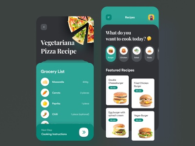 Recipe Ingredients Food App classical modern serif dark green green clean design mobile app design cooking delivery burger pizza dark mode dark ui dark mobile design mobile app mobile ingredients food recipe
