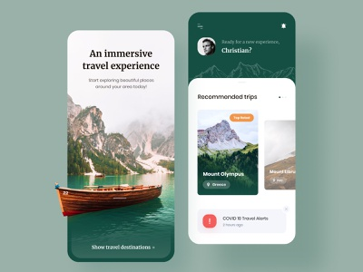 Travel to Mountains - Mobile App mountains traveling travel app mobile application mobile design product design mobile app mobile modern style classic green advisor trips boat clean experience travel mountain