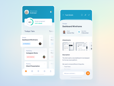 Task List and Details - Project Management App mobile task mobile app mobile design product design application app design projects list task details mobile task management task manager task list task app managment project