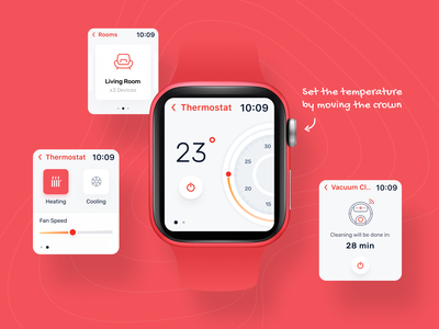 Smart Home - Apple Watch App mobile ui ux ui watch app smart watch smarthome crown interaction modern clean red thermostat smart home app smart home watch apple watch product design mobile