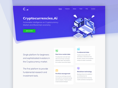 Cryptocurrency Analytics Landing Page