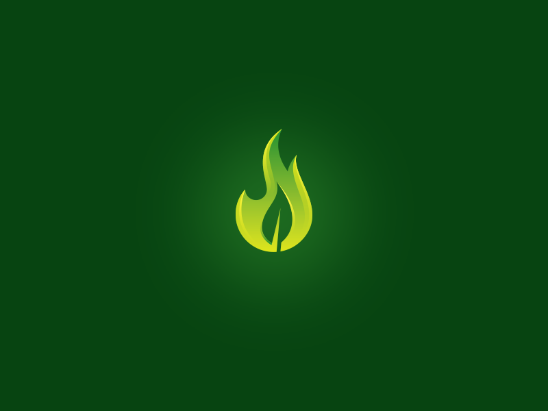 FlameLeaf flame leaf green fire negative space logo burn burning light nature plant symbol