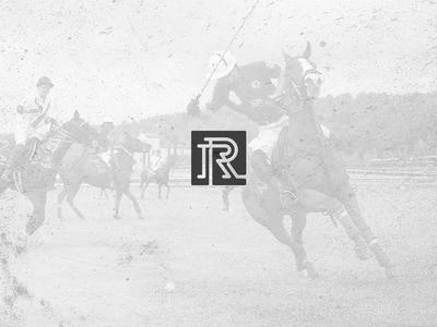 R Monogram r letter vintage polo clothing monogram insignia square